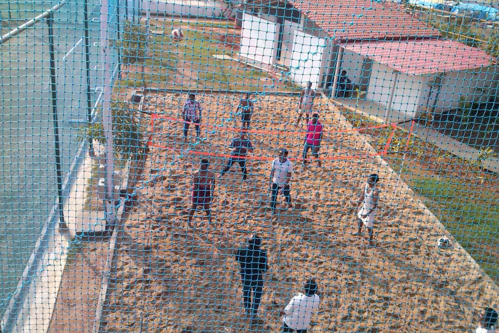 Beach Volleyball match in action