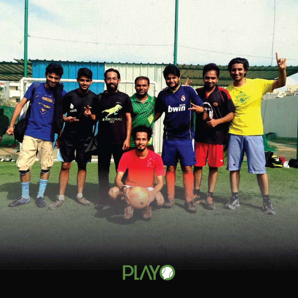 Players playing football in bangalore at pretty sports drift