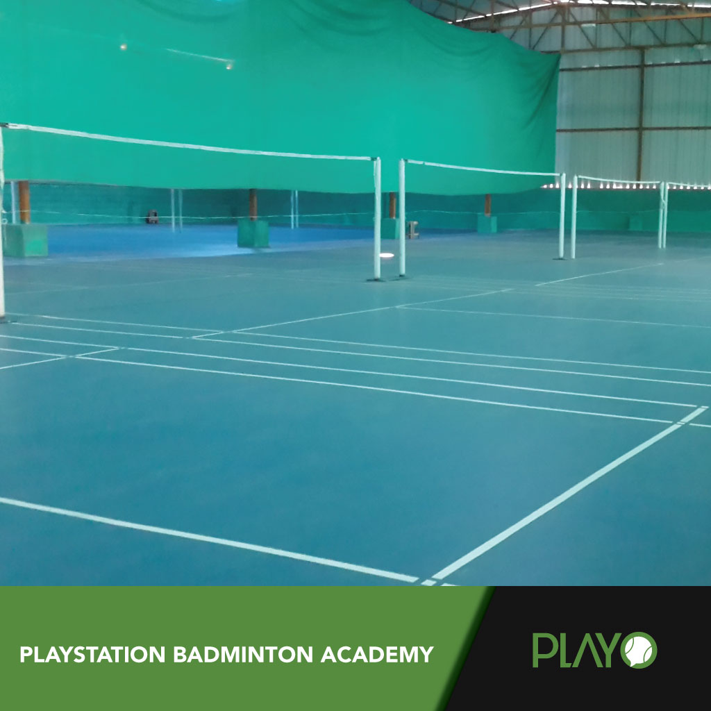 12 synthetic badminton courts at Bellandur. Playstation badminton academy.