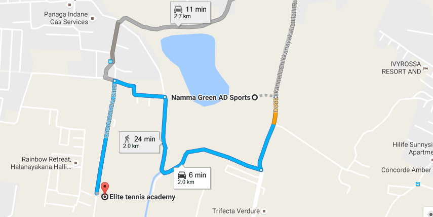 Distance between Elite Tennis Academy and Namma Green AD Sports