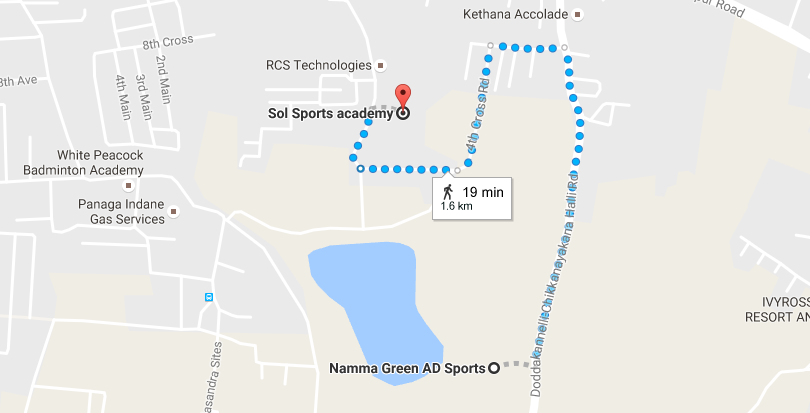 Location of Sol Sports Academy from Namma Green AD Sports