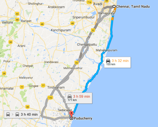 Chennai to Pondicherry via East Coast Road (ECR)