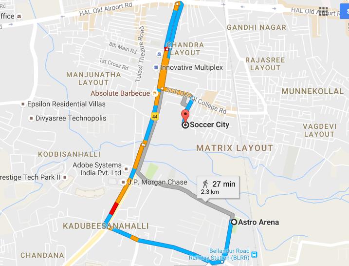 Soccer City Marathahalli Road Map