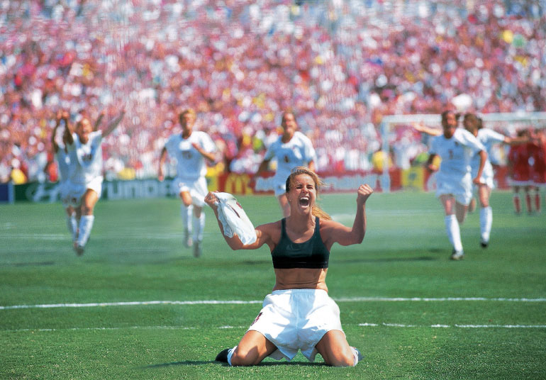 Brandi Chastain celebrated her goal in style by taking off her Jersey