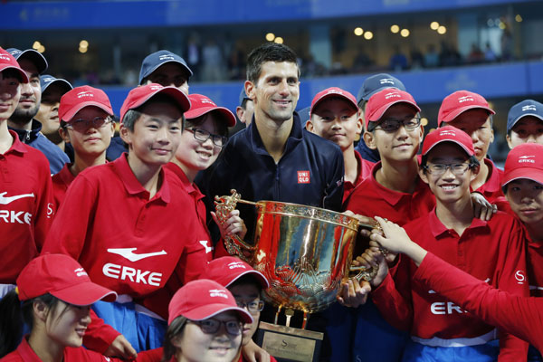 Djokovic with Ball boys