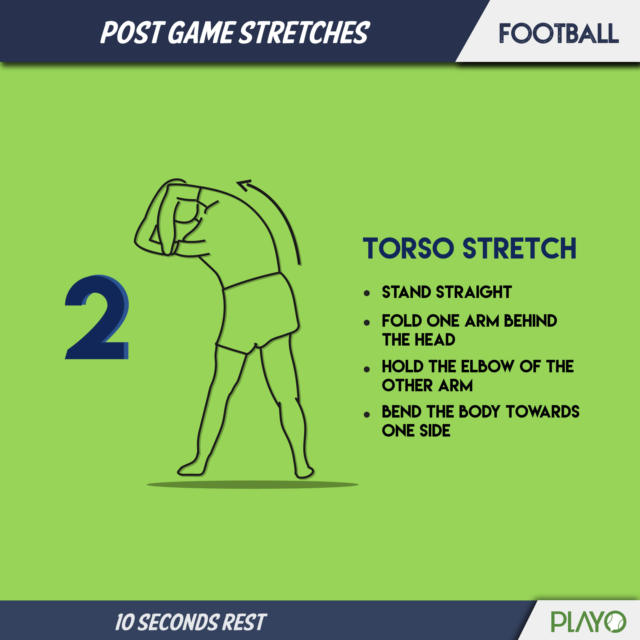 Torso stretch for cool down after football