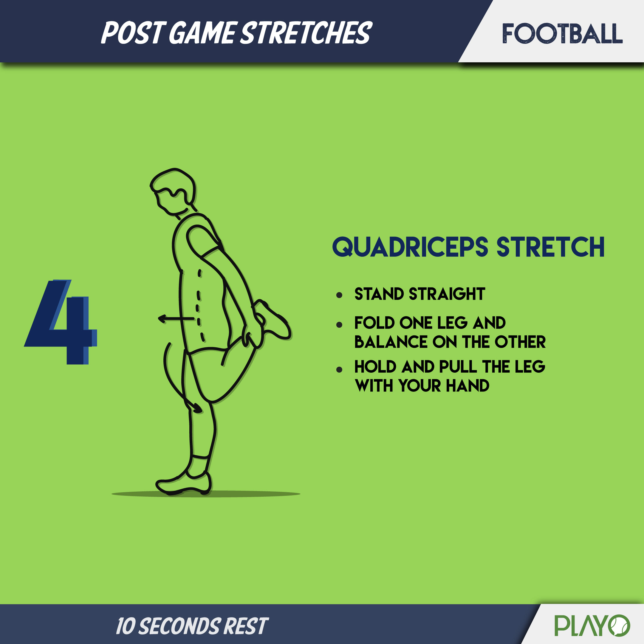Quadriceps stretch to cool you down after football