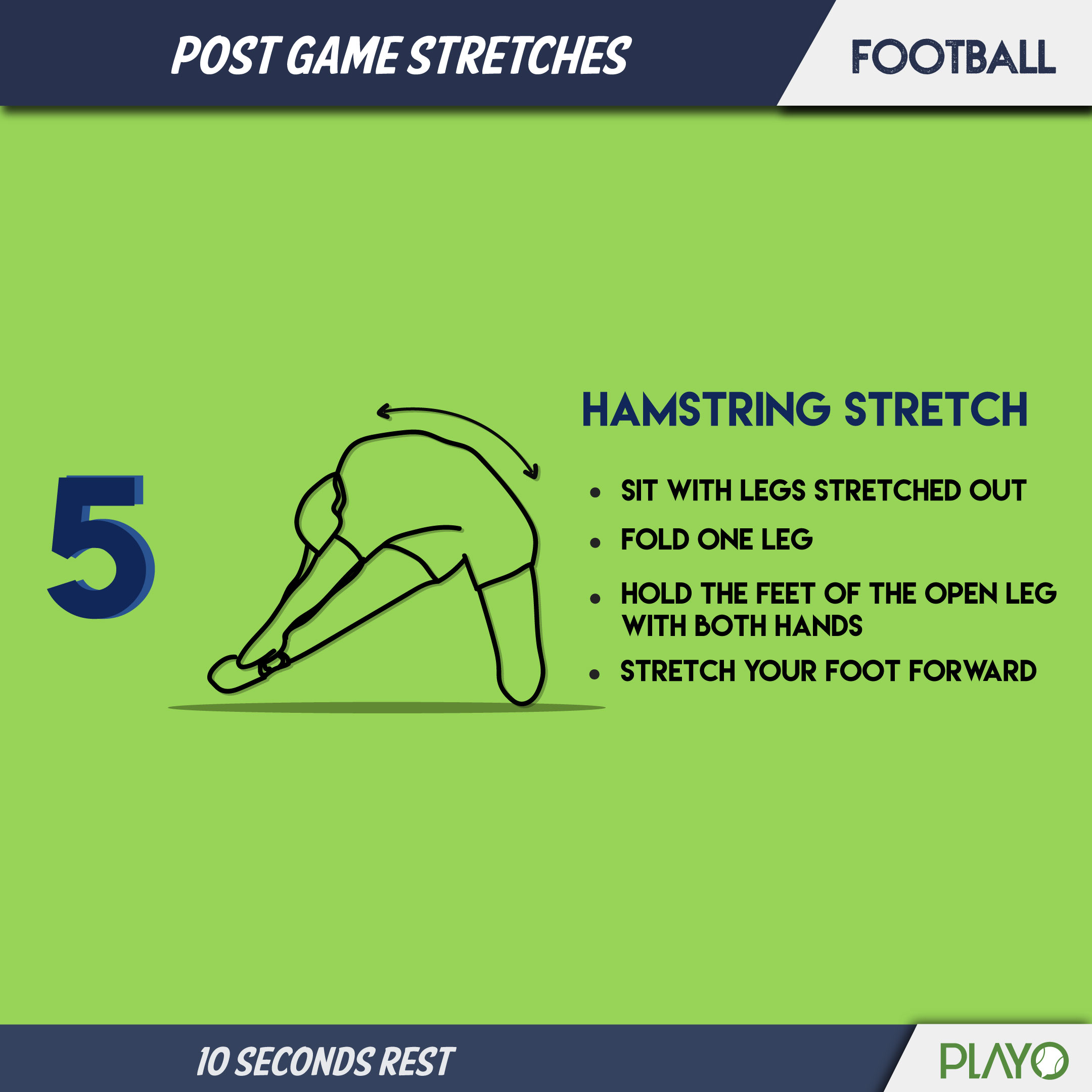 Hamstring stretch to cool you down after football