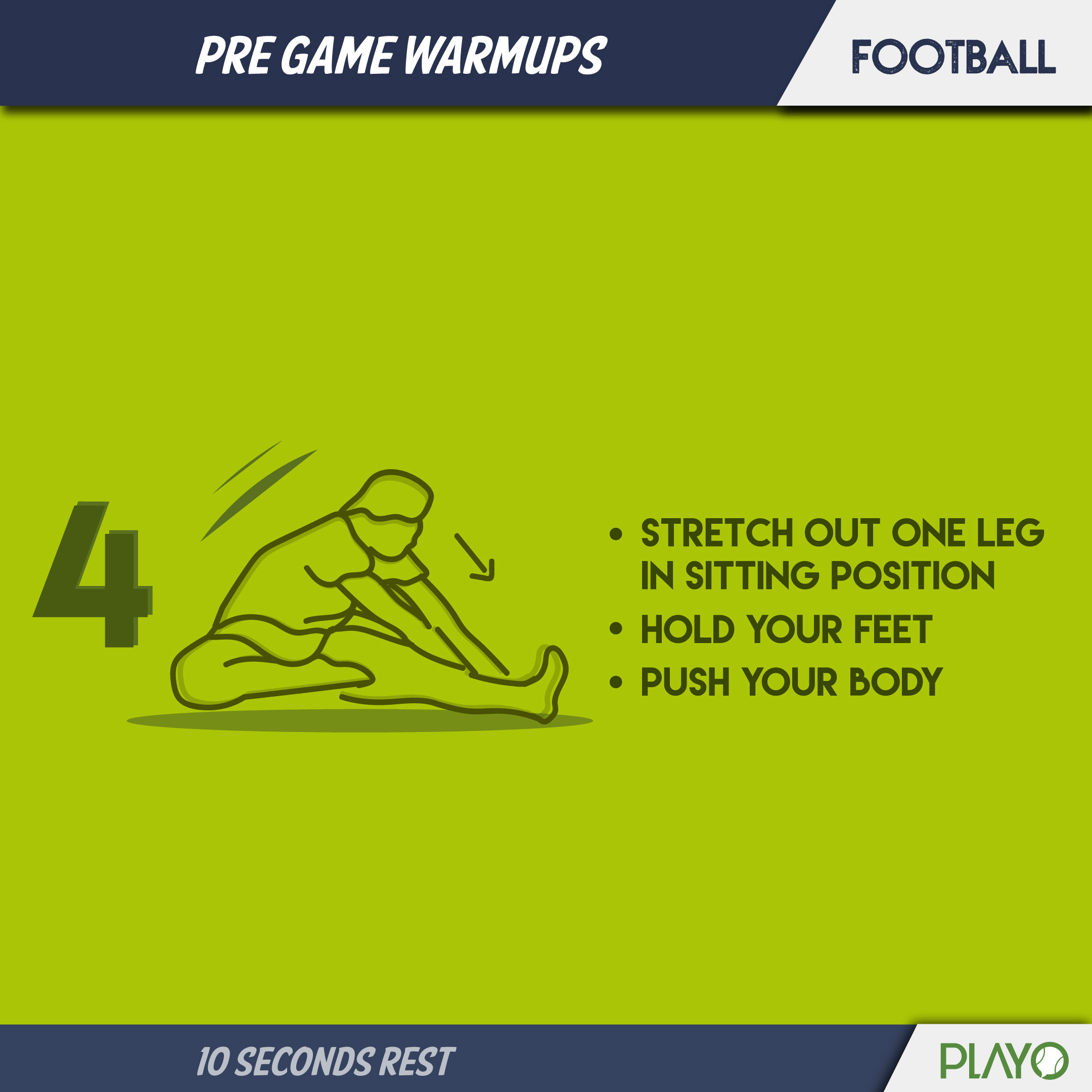Hamstring stretch for warm-up before football