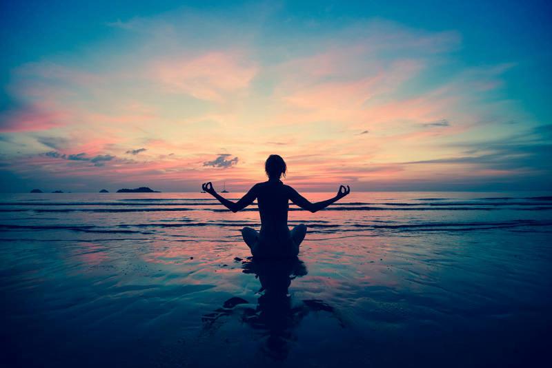 A lady meditating