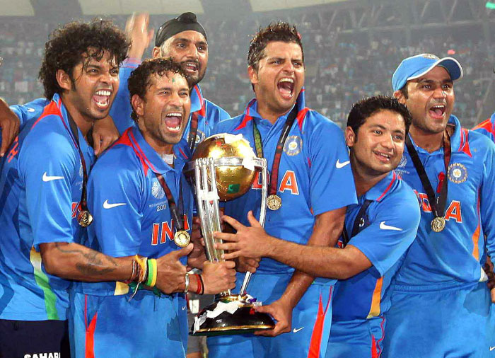 Sachin with the world cup 2011 trophy