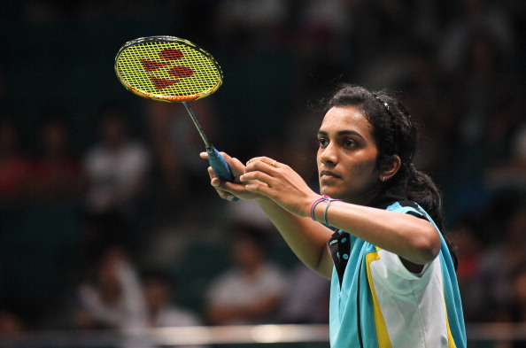 PV Sindhu holding an Yonex racket