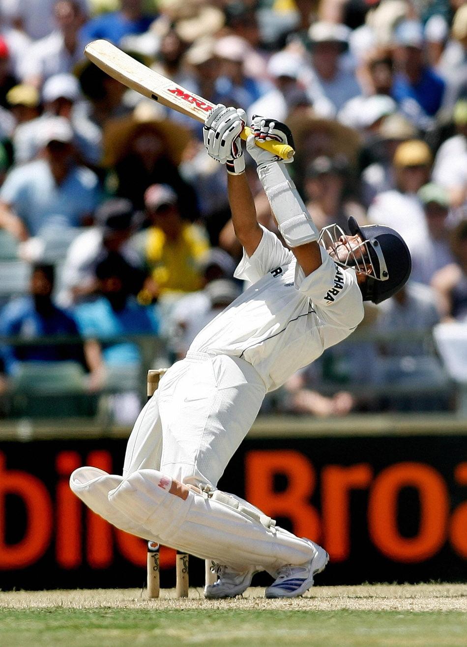 India's Sachin Tendulkar hits a stroke d