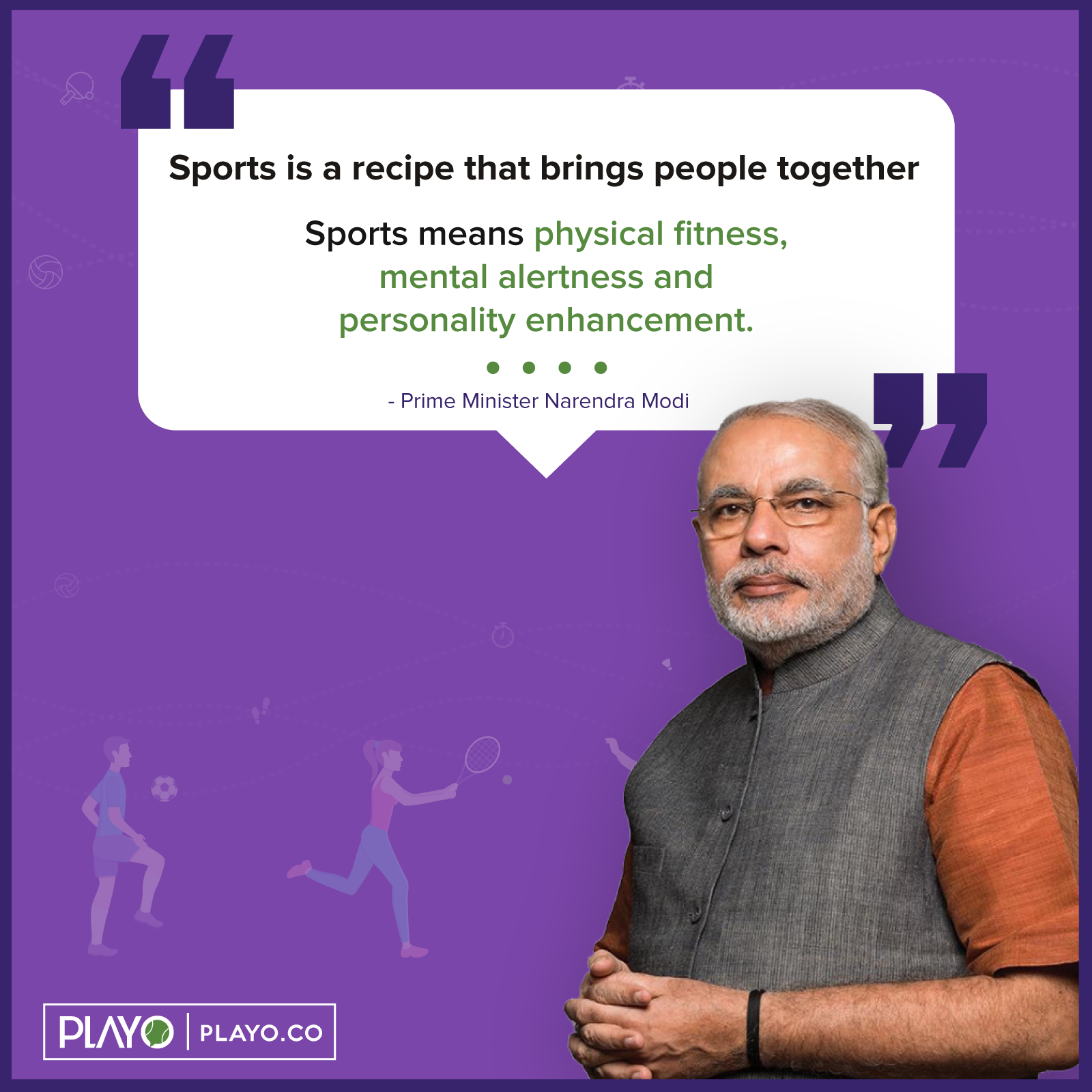 modi talking about the importance of sports