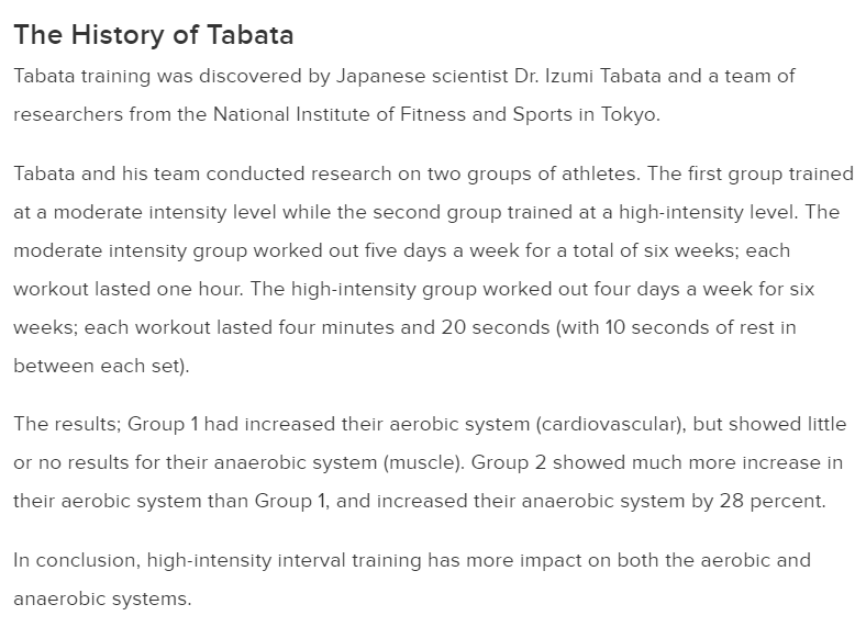 Active on how Tabata experiment was done