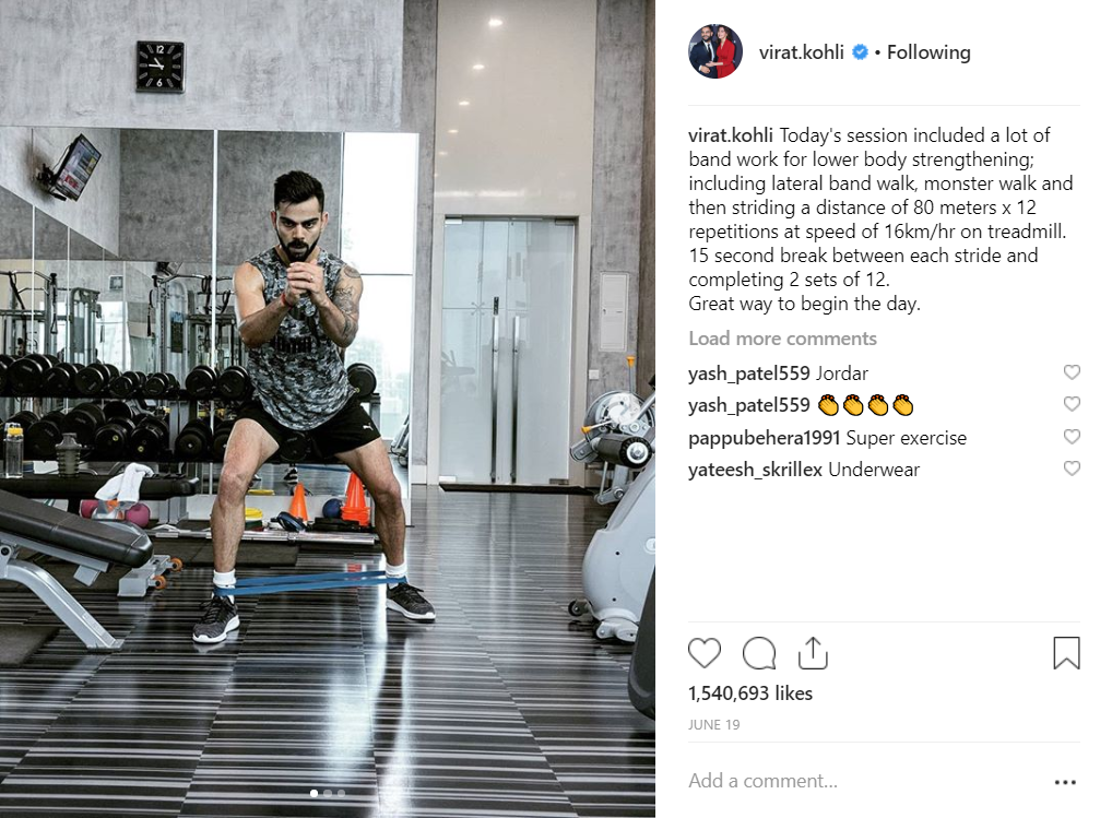 Virat Kohli working out in the gym
