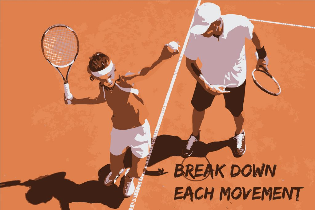 A coach teaching a student to break down each movement while playing tennis