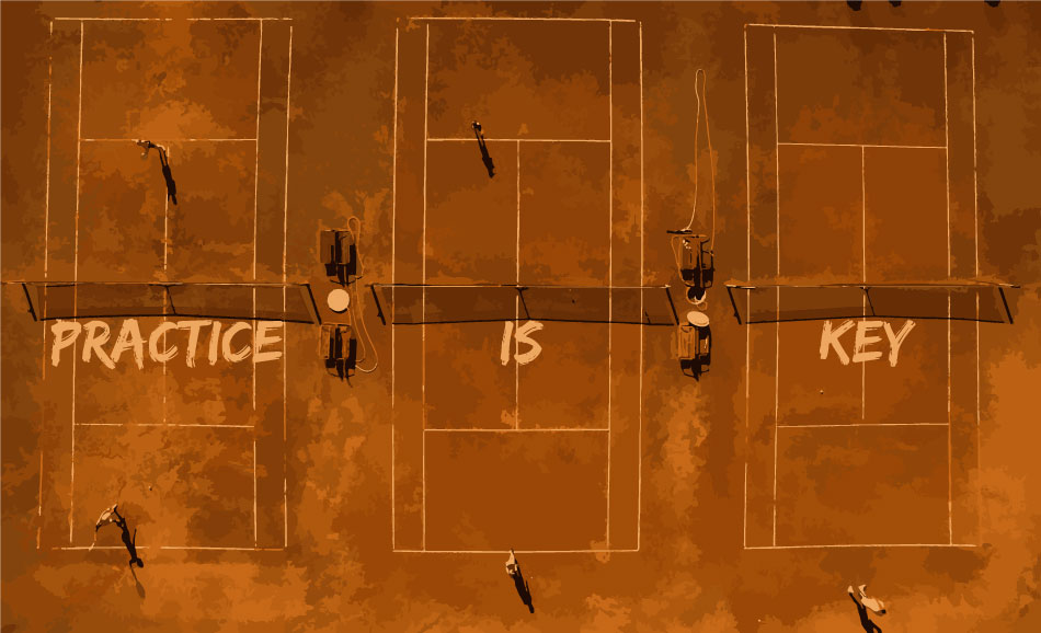 An image that describes how practice is the key in Tennis