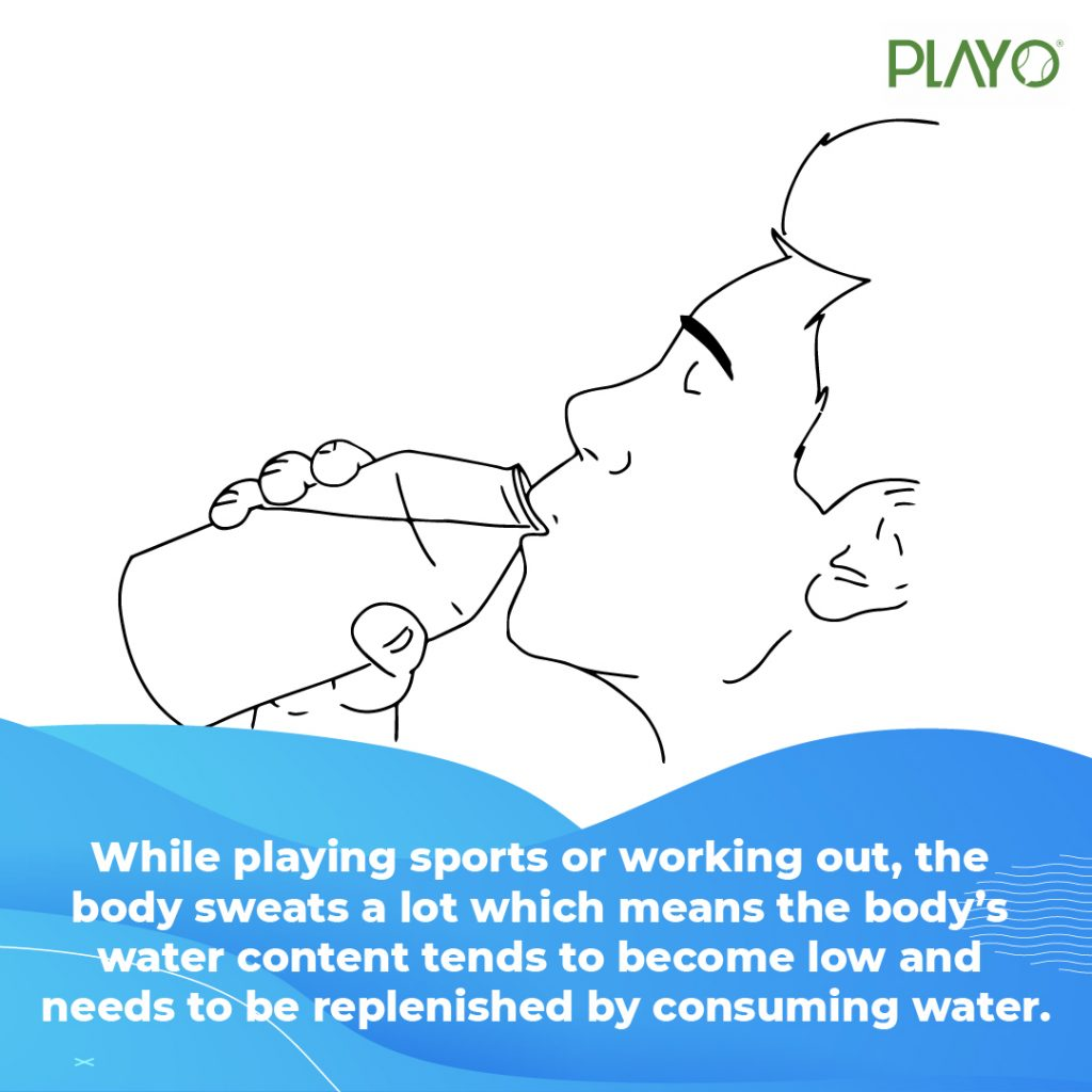 Water is extremely important for a sportsperson as while playing they tend to sweat. Therefore, it is important for them to consume water.