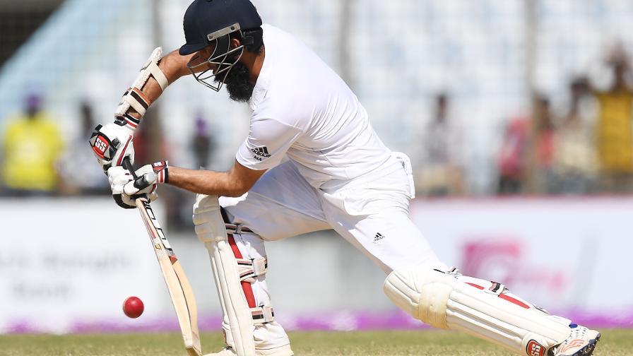 A batsman doing a forward defence
