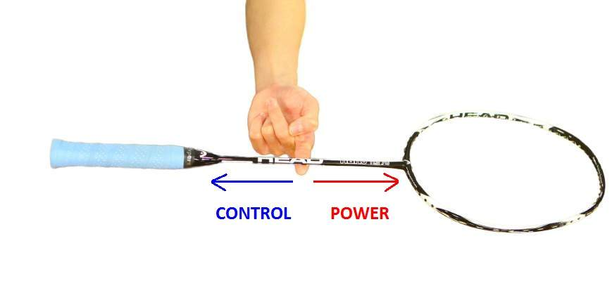 An image showing how to measure the balance point of a racket.