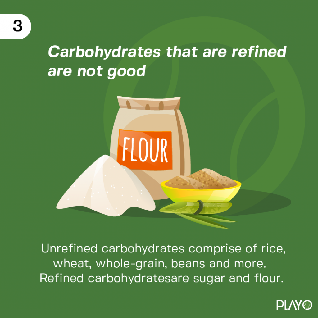 Unrefined carbohydrates comprise of rice, wheat, whole-grain, beans and more. Refined carbohydrates are sugar and flour.