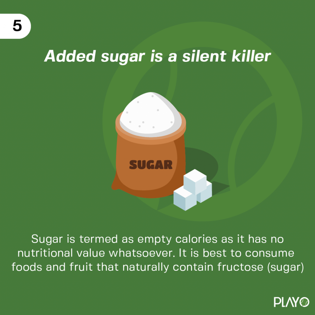Sugar is termed as empty calories as it has no nutritional value whatsoever. It is best to consume foods and fruit that naturally contain fructose (sugar).