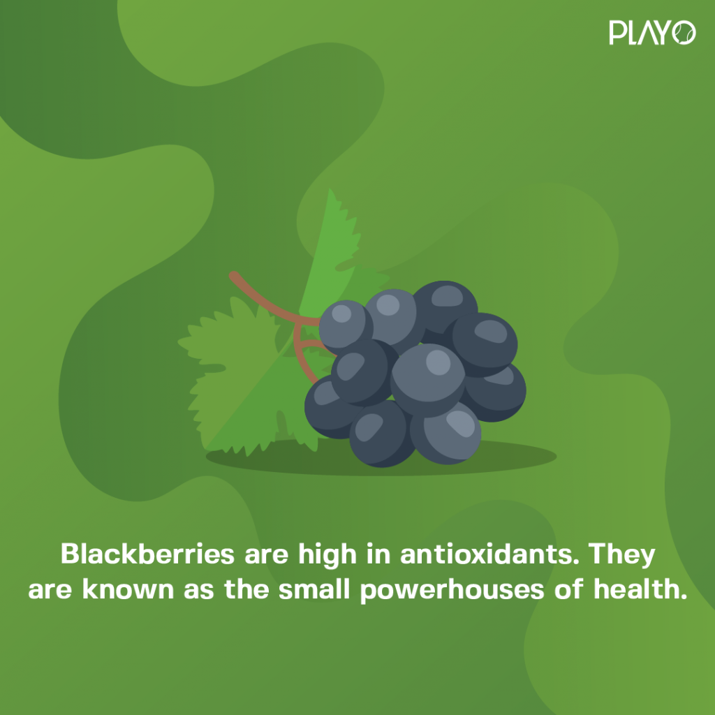Blackberries are high in antioxidants. They are known as the small powerhouses of health.